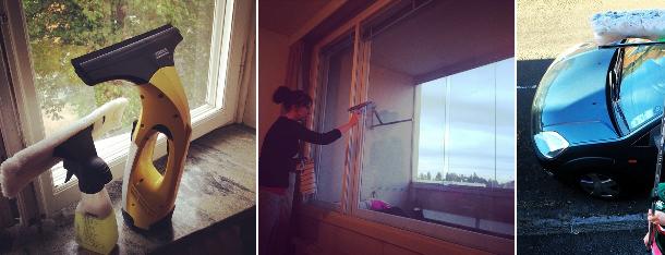 tvätta fönster i lägenhet